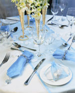 Tranquil blue table setting